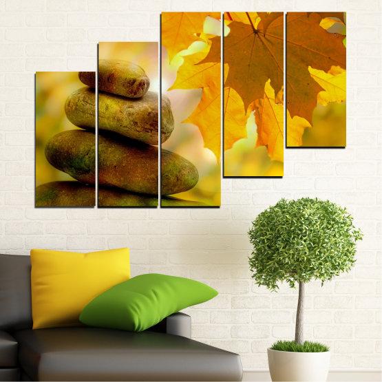 Canvas prints & wall decorative panels - 5 pieces №0641 » Green, Orange, Brown » Stones, Tree, Autumn, Leaf Form #8