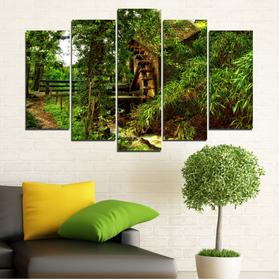 Canvas prints & wall decorative panels - 5 pieces №0643 » Green, Brown, Black » Nature, Forest, Freshness, Mill Form #1
