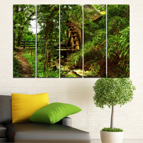 Canvas prints & wall decorative panels - 5 pieces №0643 » Green, Brown, Black » Nature, Forest, Freshness, Mill Form #2