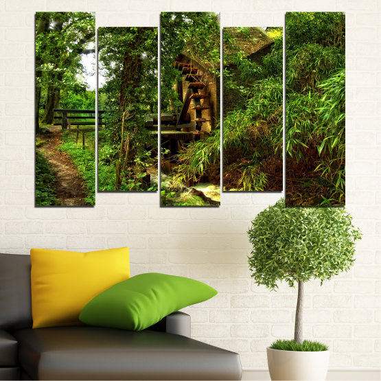 Canvas prints & wall decorative panels - 5 pieces №0643 » Green, Brown, Black » Nature, Forest, Freshness, Mill Form #3
