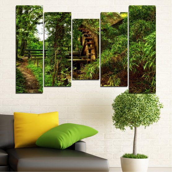 Canvas prints & wall decorative panels - 5 pieces №0643 » Green, Brown, Black » Nature, Forest, Freshness, Mill Form #4