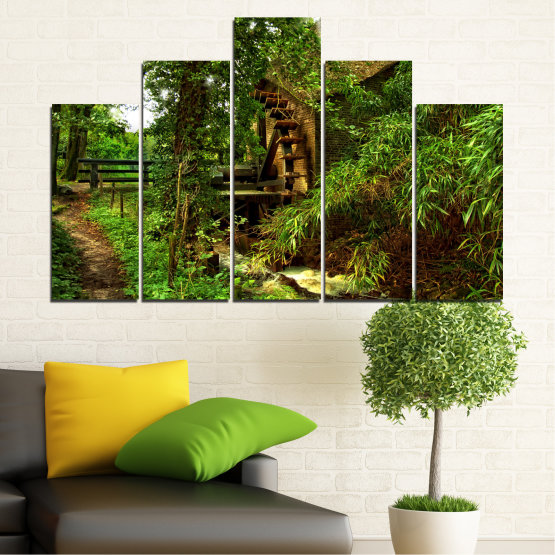 Canvas prints & wall decorative panels - 5 pieces №0643 » Green, Brown, Black » Nature, Forest, Freshness, Mill Form #5