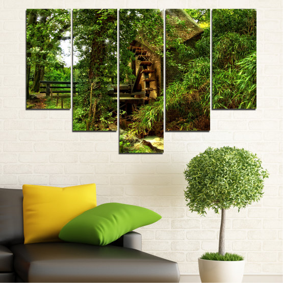Canvas prints & wall decorative panels - 5 pieces №0643 » Green, Brown, Black » Nature, Forest, Freshness, Mill Form #6