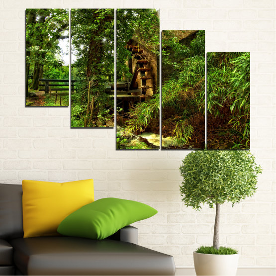 Canvas prints & wall decorative panels - 5 pieces №0643 » Green, Brown, Black » Nature, Forest, Freshness, Mill Form #7