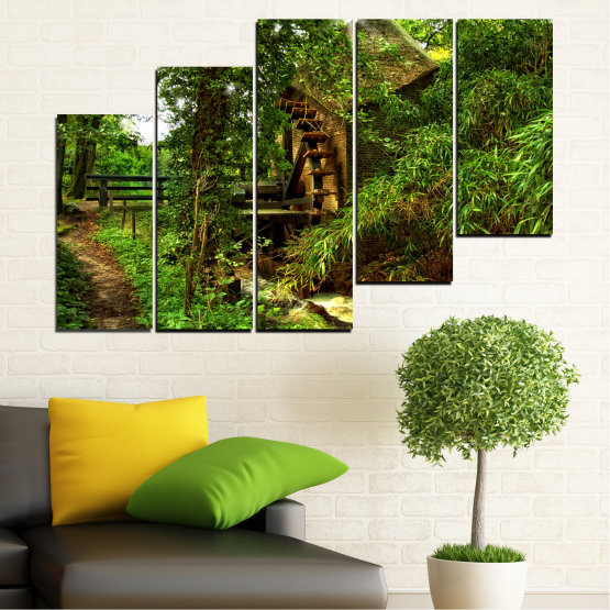 Canvas prints & wall decorative panels - 5 pieces №0643 » Green, Brown, Black » Nature, Forest, Freshness, Mill Form #8