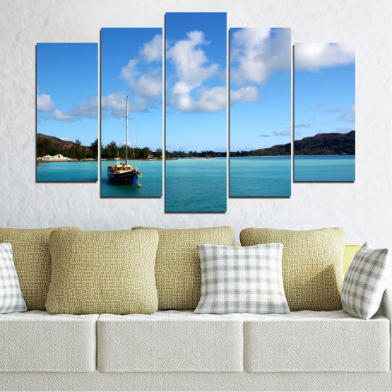 Canvas prints & wall decorative panels - 5 pieces №0644 » Blue, Turquoise, Gray » Sea, Water, Sky, Boat Form #1