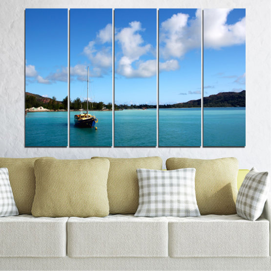 Canvas prints & wall decorative panels - 5 pieces №0644 » Blue, Turquoise, Gray » Sea, Water, Sky, Boat Form #2