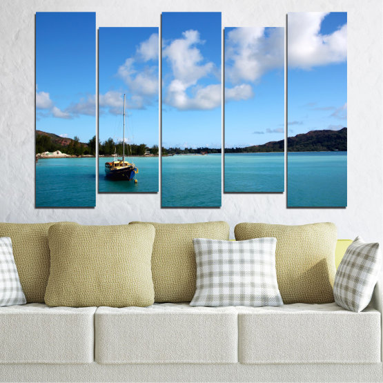 Canvas prints & wall decorative panels - 5 pieces №0644 » Blue, Turquoise, Gray » Sea, Water, Sky, Boat Form #3
