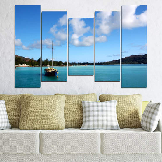 Canvas prints & wall decorative panels - 5 pieces №0644 » Blue, Turquoise, Gray » Sea, Water, Sky, Boat Form #4