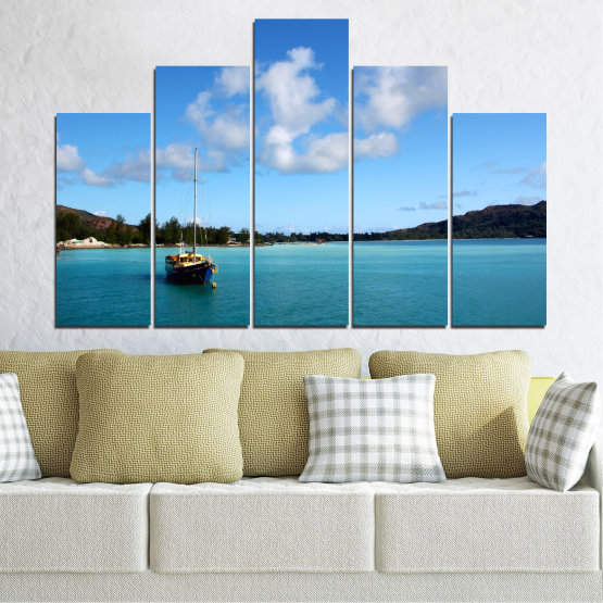 Canvas prints & wall decorative panels - 5 pieces №0644 » Blue, Turquoise, Gray » Sea, Water, Sky, Boat Form #5