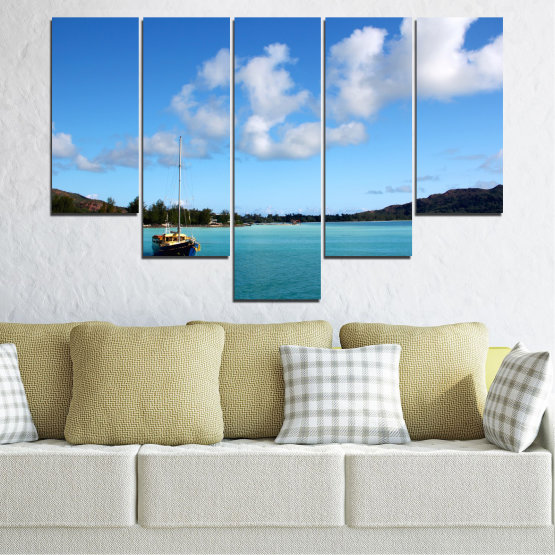 Canvas prints & wall decorative panels - 5 pieces №0644 » Blue, Turquoise, Gray » Sea, Water, Sky, Boat Form #6