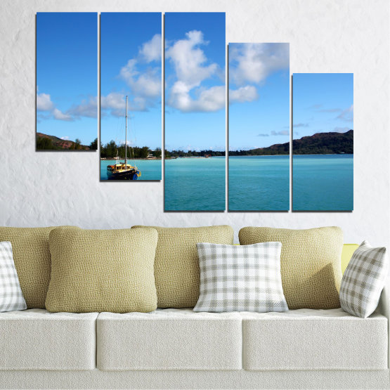 Canvas prints & wall decorative panels - 5 pieces №0644 » Blue, Turquoise, Gray » Sea, Water, Sky, Boat Form #7