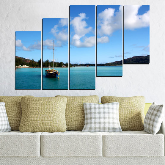 Canvas prints & wall decorative panels - 5 pieces №0644 » Blue, Turquoise, Gray » Sea, Water, Sky, Boat Form #8