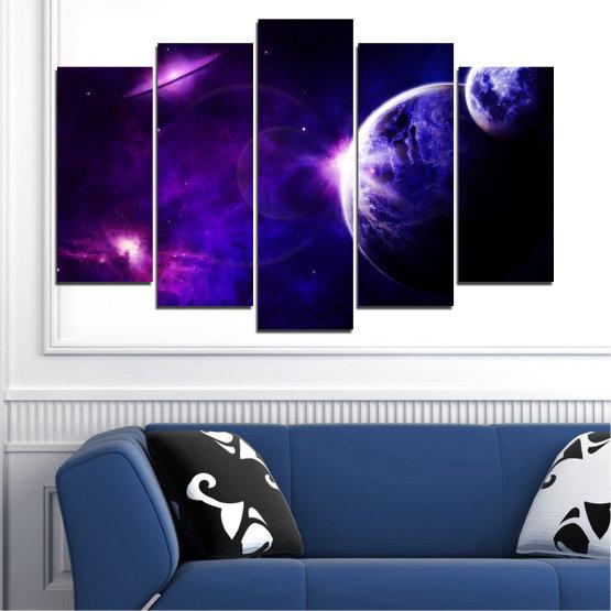 Декоративни панели и картини от канава - от 5 части №0645 » Лилав, Син, Черен, Тъмно сив » Изглед, Космос, Планета Form #1