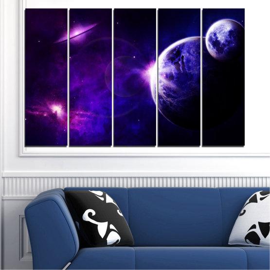 Декоративни панели и картини от канава - от 5 части №0645 » Лилав, Син, Черен, Тъмно сив » Изглед, Космос, Планета Form #2