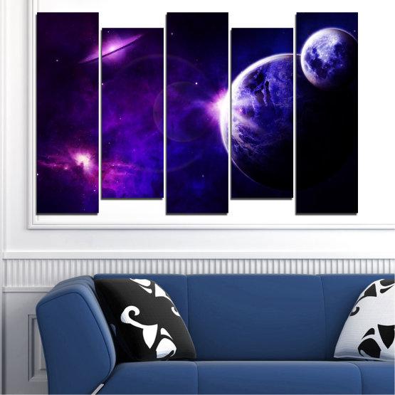 Декоративни панели и картини от канава - от 5 части №0645 » Лилав, Син, Черен, Тъмно сив » Изглед, Космос, Планета Form #3