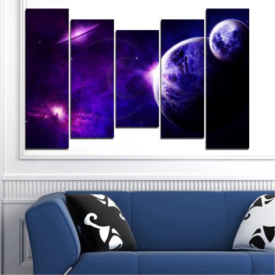 Декоративни панели и картини от канава - от 5 части №0645 » Лилав, Син, Черен, Тъмно сив » Изглед, Космос, Планета Form #4