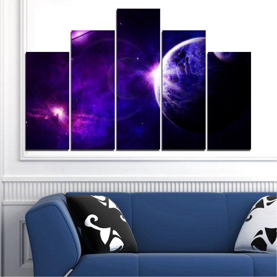 Декоративни панели и картини от канава - от 5 части №0645 » Лилав, Син, Черен, Тъмно сив » Изглед, Космос, Планета Form #5