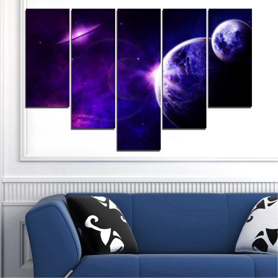Декоративни панели и картини от канава - от 5 части №0645 » Лилав, Син, Черен, Тъмно сив » Изглед, Космос, Планета Form #6