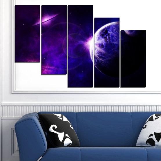 Декоративни панели и картини от канава - от 5 части №0645 » Лилав, Син, Черен, Тъмно сив » Изглед, Космос, Планета Form #7