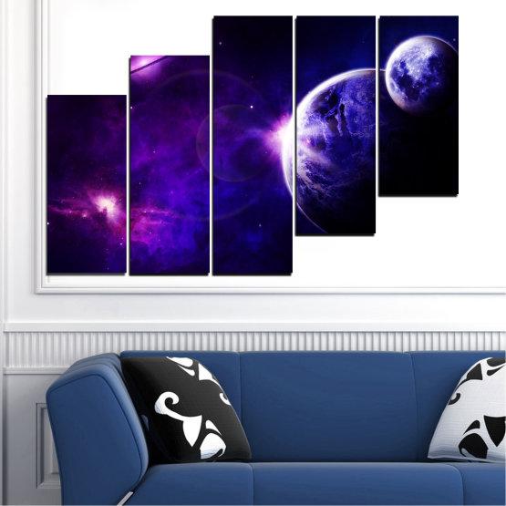 Декоративни панели и картини от канава - от 5 части №0645 » Лилав, Син, Черен, Тъмно сив » Изглед, Космос, Планета Form #8
