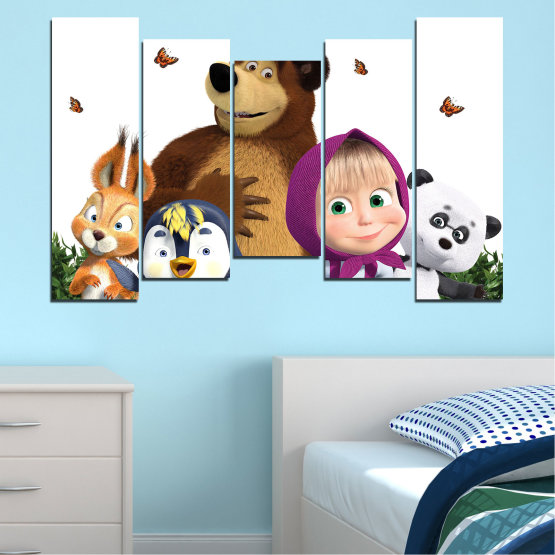 Canvas prints & wall decorative panels - 5 pieces №0646 » Brown, White, Beige, Dark grey » Animated, Children, Masha and the bear Form #4