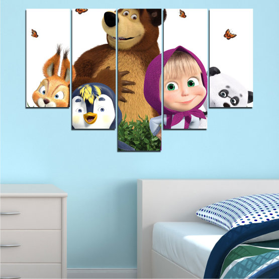 Canvas prints & wall decorative panels - 5 pieces №0646 » Brown, White, Beige, Dark grey » Children, Animated, Masha and the bear Form #6