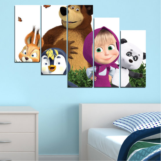 Canvas prints & wall decorative panels - 5 pieces №0646 » Brown, White, Beige, Dark grey » Animated, Children, Masha and the bear Form #7