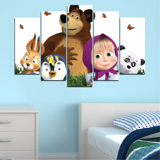 Canvas prints & wall decorative panels - 5 pieces №0646 » Brown, White, Beige, Dark grey » Children, Animated, Masha and the bear Form #1