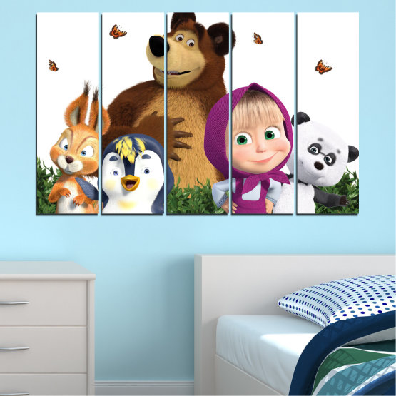 Canvas prints & wall decorative panels - 5 pieces №0646 » Brown, White, Beige, Dark grey » Animated, Children, Masha and the bear Form #2