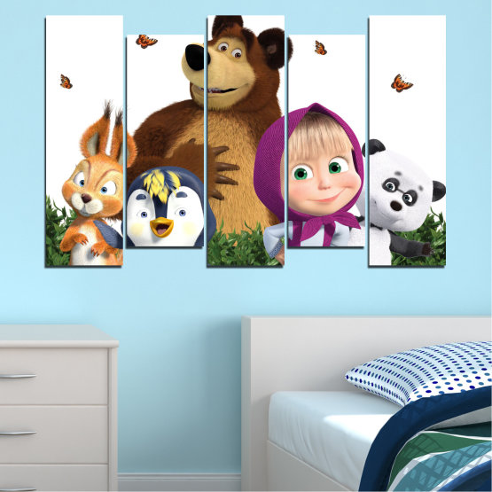 Canvas prints & wall decorative panels - 5 pieces №0646 » Brown, White, Beige, Dark grey » Animated, Children, Masha and the bear Form #3