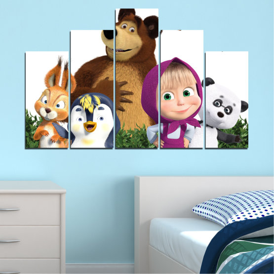 Canvas prints & wall decorative panels - 5 pieces №0646 » Brown, White, Beige, Dark grey » Children, Animated, Masha and the bear Form #5