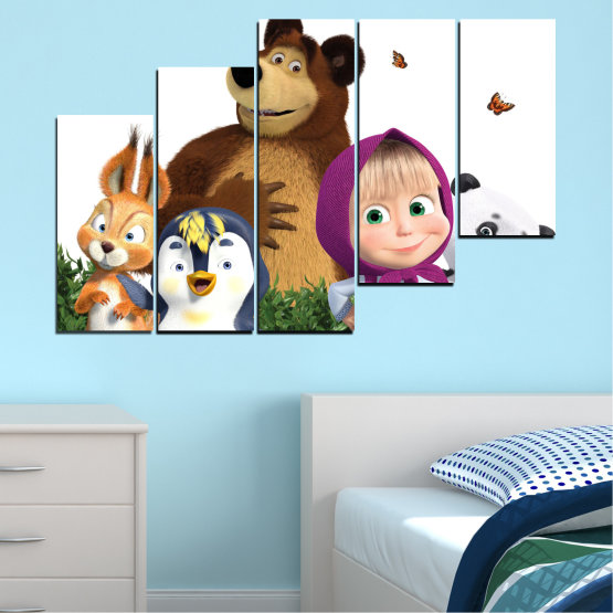 Canvas prints & wall decorative panels - 5 pieces №0646 » Brown, White, Beige, Dark grey » Animated, Children, Masha and the bear Form #8