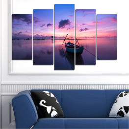 Water, Sea, Sunset, Sky, Boat » Purple, Blue, Gray, Milky pink, Dark grey