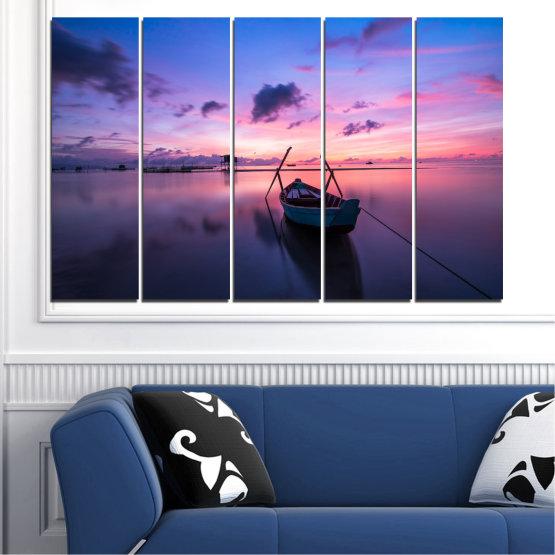 Декоративни панели и картини от канава - от 5 части №0647 » Лилав, Син, Сив, Млечно розов, Тъмно сив » Море, Вода, Залез, Небе, Лодка Form #2