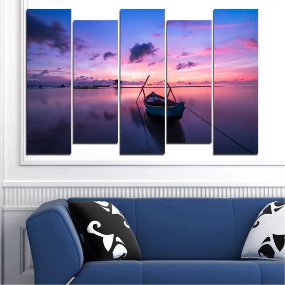 Декоративни панели и картини от канава - от 5 части №0647 » Лилав, Син, Сив, Млечно розов, Тъмно сив » Море, Вода, Залез, Небе, Лодка Form #3