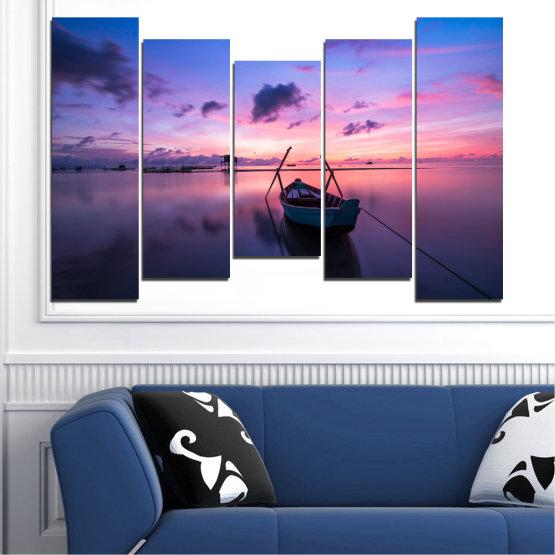 Декоративни панели и картини от канава - от 5 части №0647 » Лилав, Син, Сив, Млечно розов, Тъмно сив » Море, Вода, Залез, Небе, Лодка Form #4