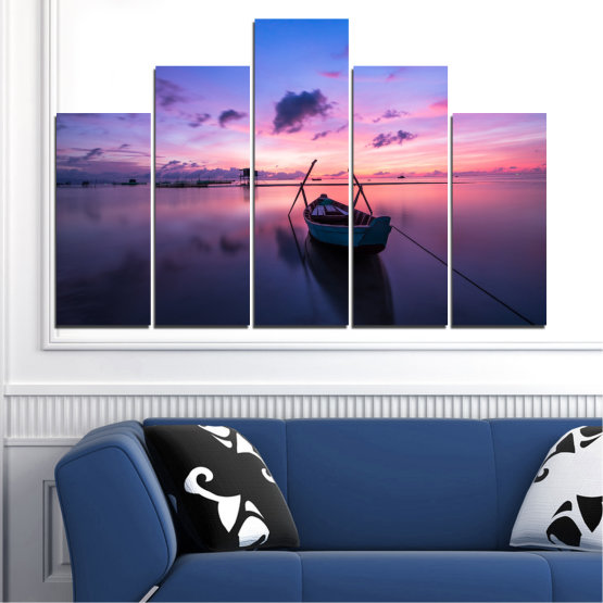 Декоративни панели и картини от канава - от 5 части №0647 » Лилав, Син, Сив, Млечно розов, Тъмно сив » Море, Вода, Залез, Небе, Лодка Form #5