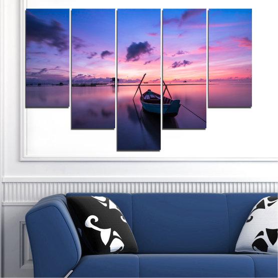 Декоративни панели и картини от канава - от 5 части №0647 » Лилав, Син, Сив, Млечно розов, Тъмно сив » Море, Вода, Залез, Небе, Лодка Form #6