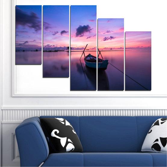 Декоративни панели и картини от канава - от 5 части №0647 » Лилав, Син, Сив, Млечно розов, Тъмно сив » Море, Вода, Залез, Небе, Лодка Form #7