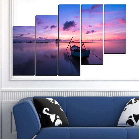 Декоративни панели и картини от канава - от 5 части №0647 » Лилав, Син, Сив, Млечно розов, Тъмно сив » Море, Вода, Залез, Небе, Лодка Form #8