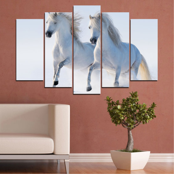 Canvas prints & wall decorative panels - 5 pieces №0648 » Gray, White, Dark grey » Animal, Frozen kingdom, Horse, Snow, Winter Form #1