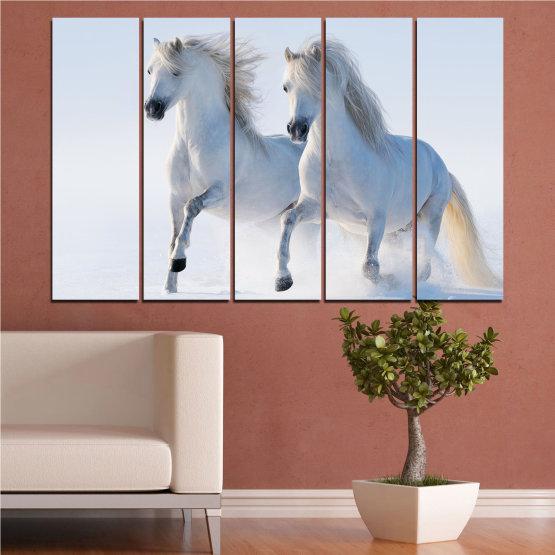 Canvas prints & wall decorative panels - 5 pieces №0648 » Gray, White, Dark grey » Animal, Frozen kingdom, Horse, Snow, Winter Form #2