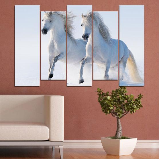 Canvas prints & wall decorative panels - 5 pieces №0648 » Gray, White, Dark grey » Animal, Frozen kingdom, Horse, Snow, Winter Form #3