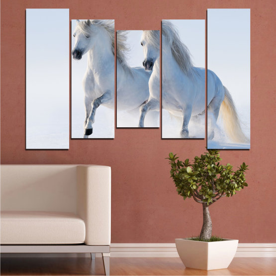 Canvas prints & wall decorative panels - 5 pieces №0648 » Gray, White, Dark grey » Animal, Frozen kingdom, Horse, Snow, Winter Form #4