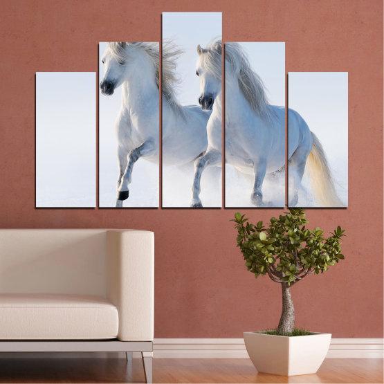 Canvas prints & wall decorative panels - 5 pieces №0648 » Gray, White, Dark grey » Animal, Frozen kingdom, Horse, Snow, Winter Form #5