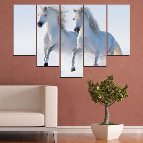 Canvas prints & wall decorative panels - 5 pieces №0648 » Gray, White, Dark grey » Animal, Frozen kingdom, Horse, Snow, Winter Form #6