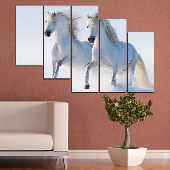 Canvas prints & wall decorative panels - 5 pieces №0648 » Gray, White, Dark grey » Animal, Frozen kingdom, Horse, Snow, Winter Form #7
