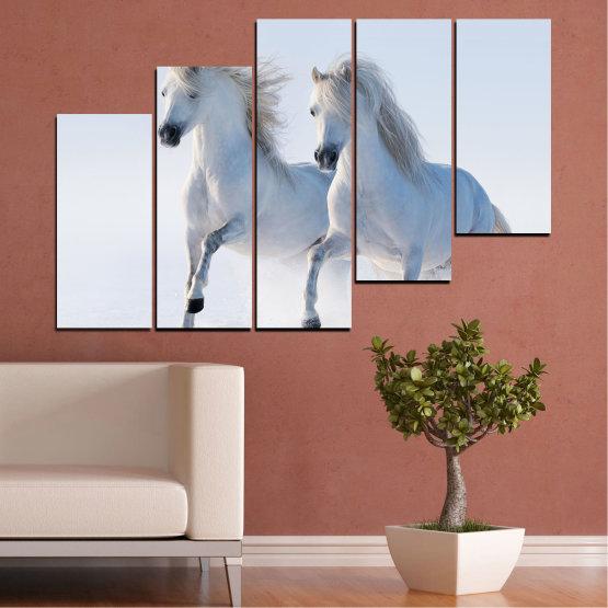 Canvas prints & wall decorative panels - 5 pieces №0648 » Gray, White, Dark grey » Animal, Frozen kingdom, Horse, Snow, Winter Form #8