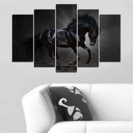 Animal, Horse, Portrait » Red, Black, Gray, White, Dark grey